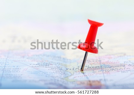 Point of Thailand in world map with red pushpin stuck #561727288
