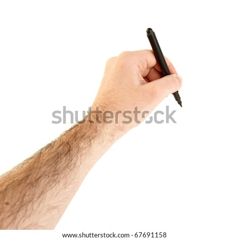 point of view of a hand holding a pencil isolated on white background