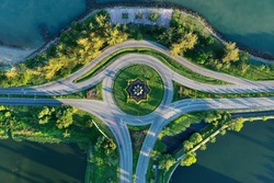 point of view roundabout at city