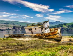 Point Reyes, California shipwrecked boat.