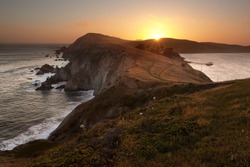 Point Reyes National Seashore, California, at sunset on a clear day