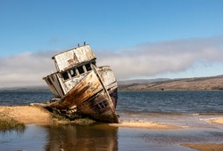 Point Reyes shipwreck, an abandoned boat in Inverness California, Point Reyes National Seashore