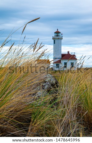Point Wilson Lighthouse in Fort Worden State Park, Port Townsend, Washington, USA Stockfoto ©