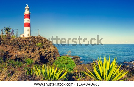 Pointe aux Caves also known as Albion lighthouse. Panorama. Mauritius