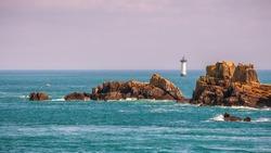 Pointe du Grouin scenic view, rocky coastline. Brittany, France.