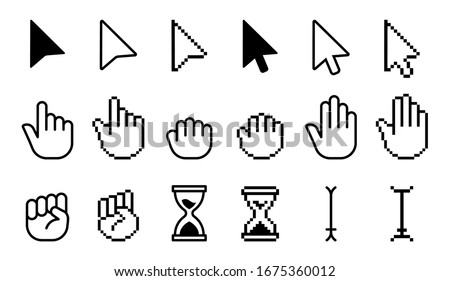 Pointer cursor icons. Computer web arrows mouse cursors and clicking line pointer cursor selecting. Pixel hand, pointer hand, arrow and hourglass logo  isolated icons set