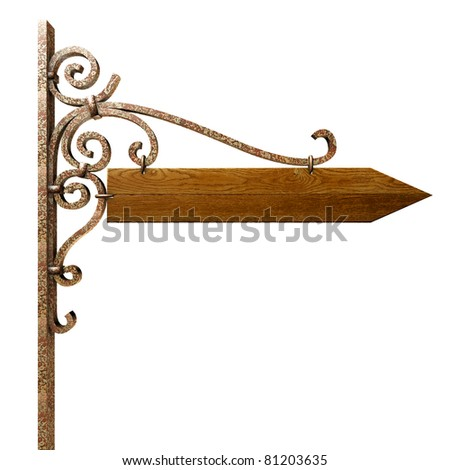 Pointer direction on street pole. Isolated on white, with clipping path.