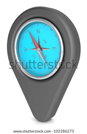Pointer Icon. Pointer Icon with a Compass. Matte iron Black and Blue.