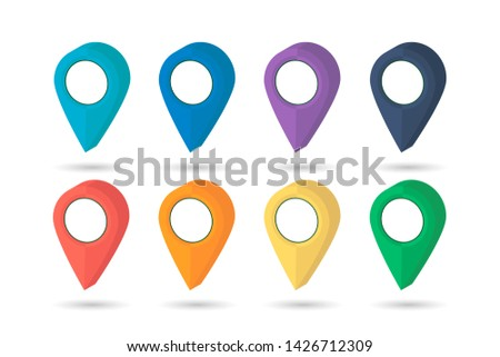 Pointer map. Set pin. Location icons. Pointers icon. illustration with shadow