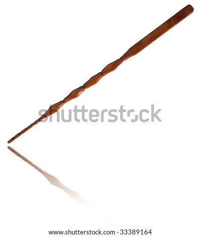 Pointer stick made of wood on white background. - stock photo