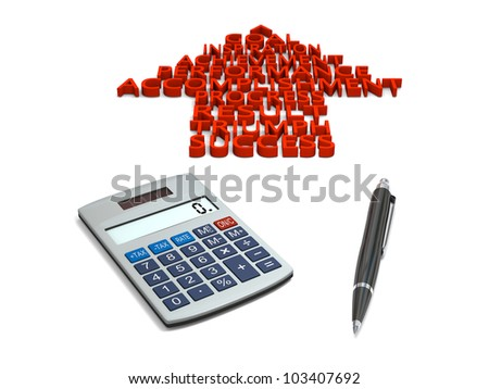 Pointer with success related business words on white background with pen and calculator
