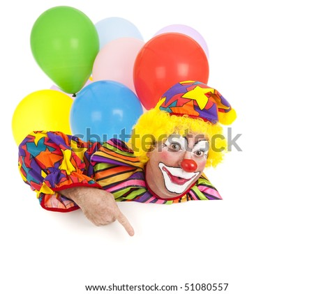 Pointing clown with balloons, isolated on white.  Design element ready for your text.