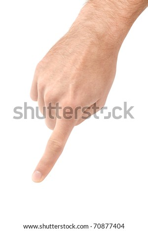Pointing male hand isolated on white background with clipping path.