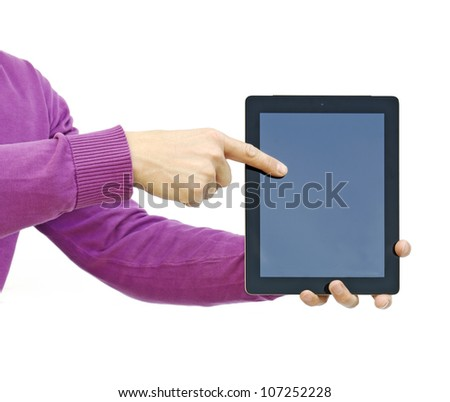 pointing to a tablet pc