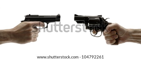 Pointing two guns on white background,holding guns.