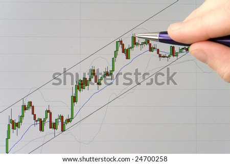Pointing with pen at a candlestick stock price chart displayed on a computer screen
