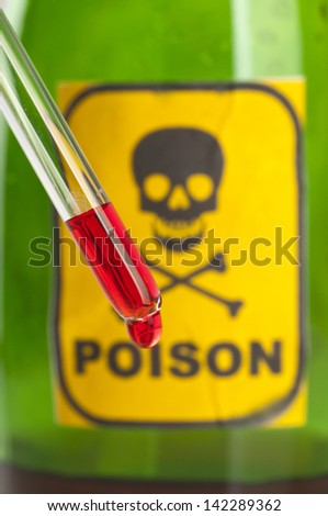 Poison bottle with label and blood