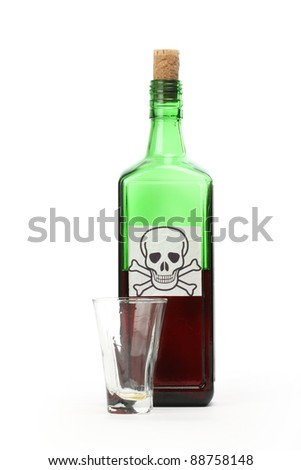 Poison bottle with warning sign in label and empty glass