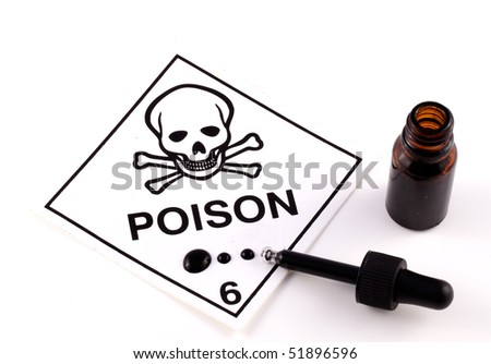 Poison With Eyedropper and black liquid on white background