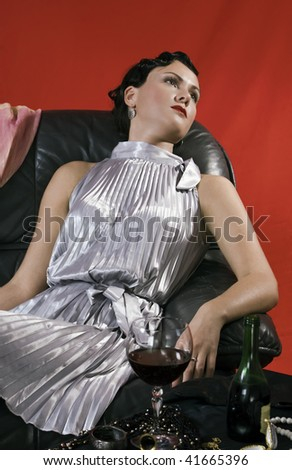 Poisoned young woman. Studio shot in a retro style