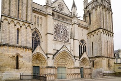 poitiers Saint Peter Cathedral church in street view