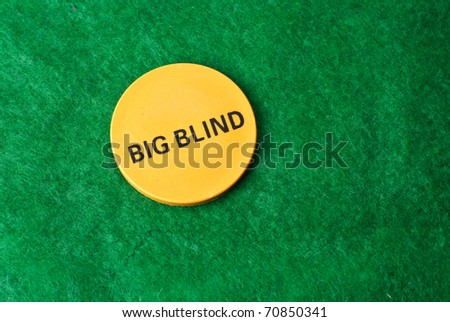Poker Big Blind Button isolated against green felt