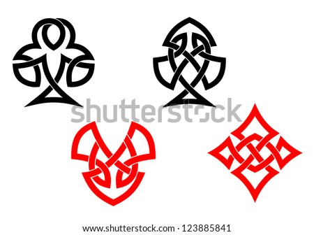 Poker card symbols in ornamental celtic style such as idea of logo Vector version also available in gallery