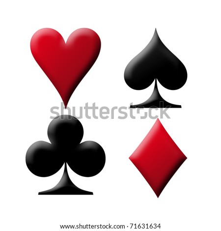 Poker card with the four aces over white background