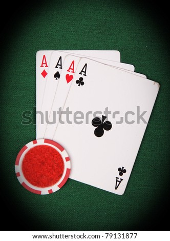 Poker cards 4 aces