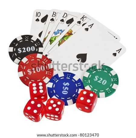 Poker cards and chips isolated on a white background