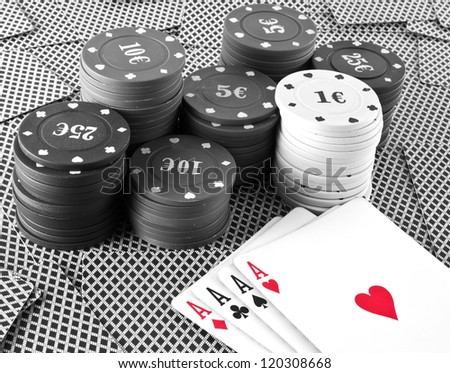 poker cards background black and white