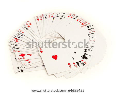 poker cards isolated on a white background