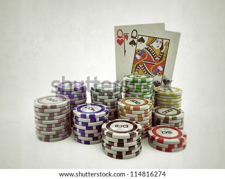 poker cards with colored chips isolated on white background