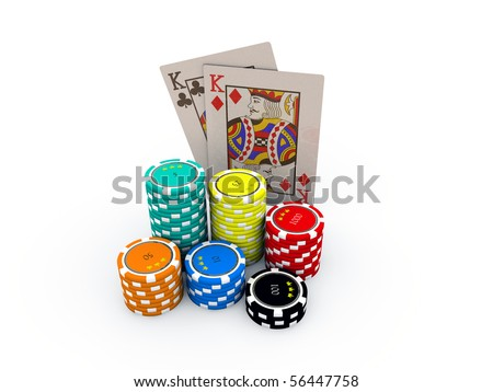 poker cards with many chips isolated on white background