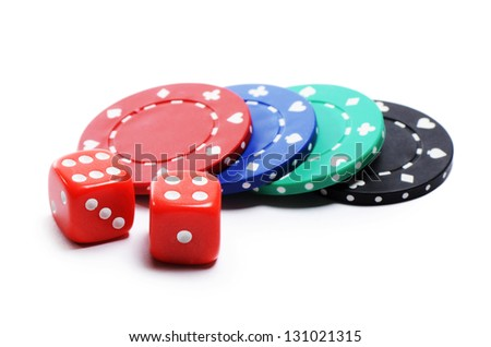Poker chip and cubes isolated on white