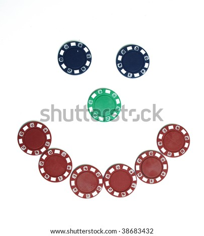 Poker chip smiley face