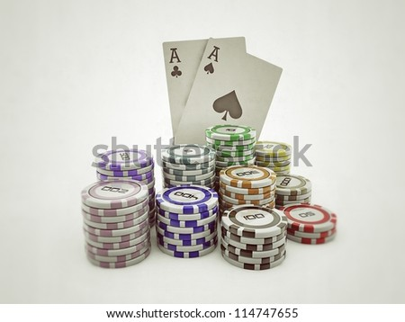 poker chips and double aces isolated on white background