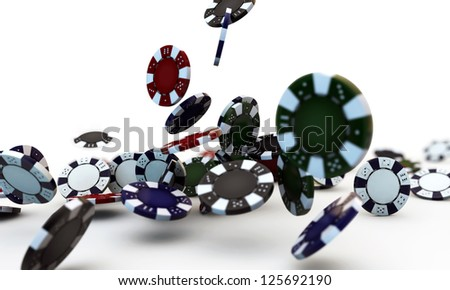 poker chips falling isolated on white background