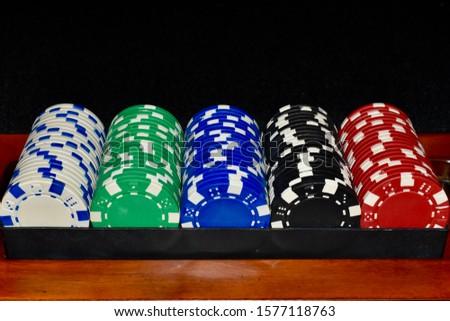 Poker Chips in a Rack