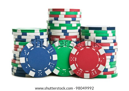 poker chips isolated on a white background