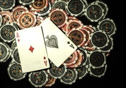 Poker chips on black