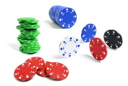 Poker Chips on Isolated White Background