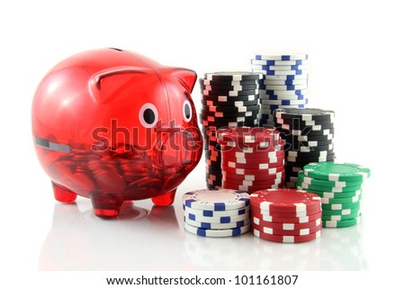 poker chips with a piggy bank on a white background, playing poker