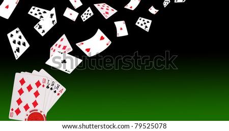 Poker flying cards