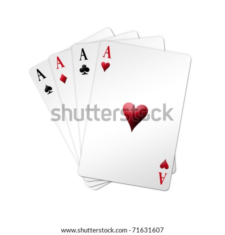 Poker game in shaped deck over white background