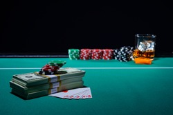 Poker game royal flush with chips and USD 30,000
