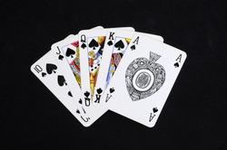 Poker hand, Royal Flush, England, UK, Western Europe.