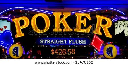 Poker - neon lights in casino - stock photo