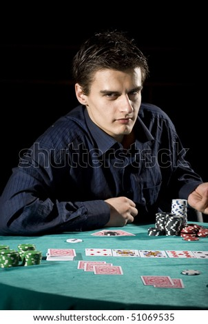 Poker player at the table