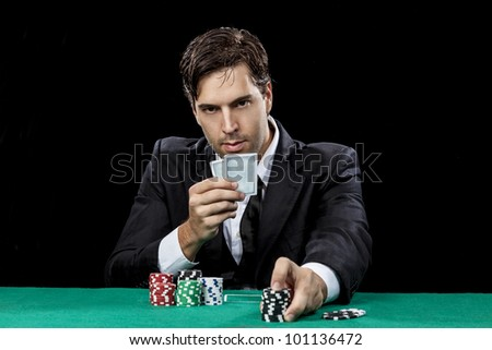 Poker Player with black background
